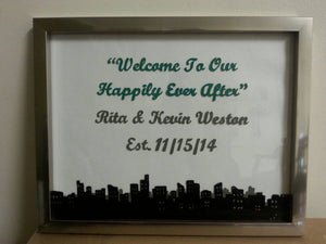 welcome wedding city skyline sign, reception sign, personalized glass frame wedding sign,