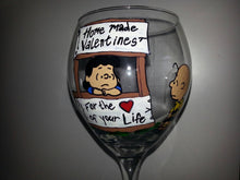 decorative peanuts gang valentines day charlie brown linus lucy snoopy woodstock hand painted wine glass cups