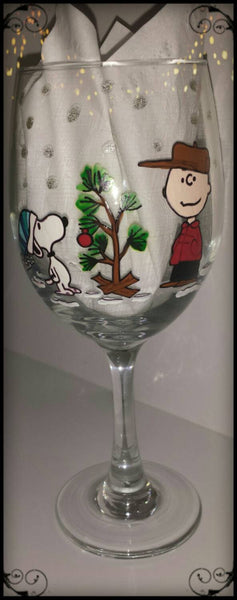 decorative charlie brown christmas peanuts gang linus lucy snoopy woodstock hand painted wine glass cups mug