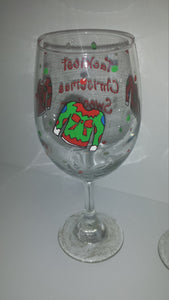 Ugliest christmas sweater party wine glass