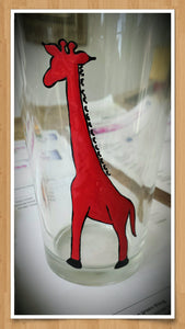 yellow red giraffe hand painted glass