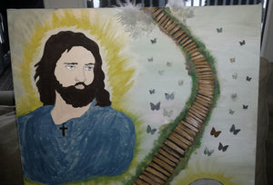 Custom hand painted Jesus and Mary spiritual stairway to heaven acrylic art canvas portrait mixed media painting