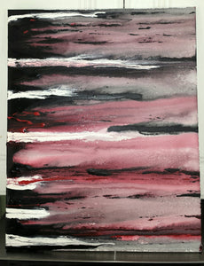 Custom hand painted acrylic art canvas 16x20 abstract painting dark waves black white red