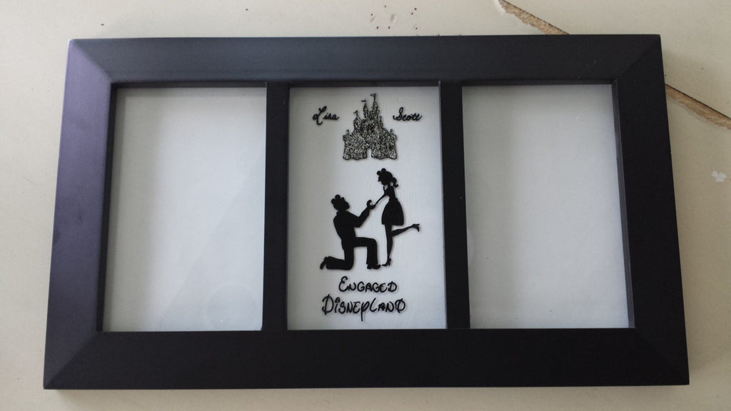 Custom hand painted weddings engagement gift disneyland disneyworld castle proposal Mickey ears Disney photo frame