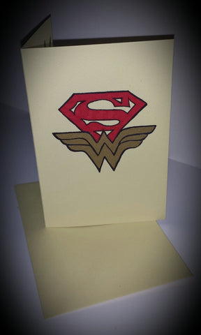 Custom handmade superman wonder woman greeting card wedding thank you