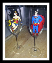 wedding toasting glasses hand painted superman and wonder woman inspired wedding bride groom