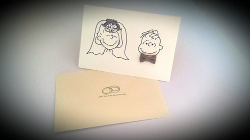 Custom handmade linus sally peanuts gang bridal shower greeting card wedding thank you