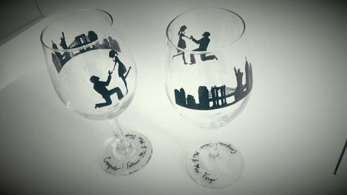 Hand painted,wedding, wine glass, proposal, engagement, set of 2, new york city, skyline, personalized, custom wedding theme,