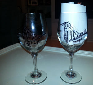 Wine Glass Custom Hand Painted Weddings Proposal Valentines Day San