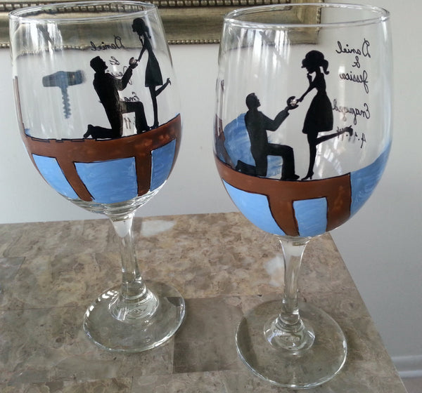 WINE glass custom hand painted sitting on the dock wedding engagement proposal gift