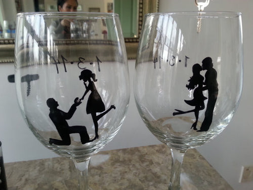 set of 2 hand painted Proposal Engagement Wine glasses