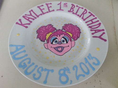 Abby Cadabby Elmo customized kids Keepsake Birthday Plate