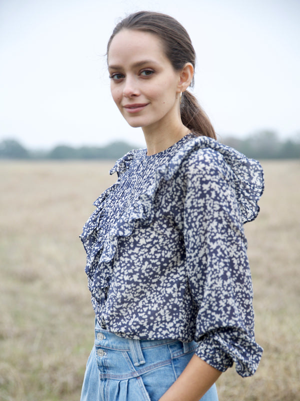 Mirth Farrar Blouse in Navy Field Flower Print