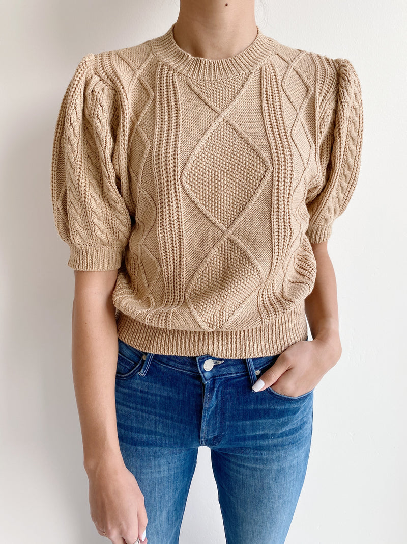 Mara Cable Knit Sweater - Camel