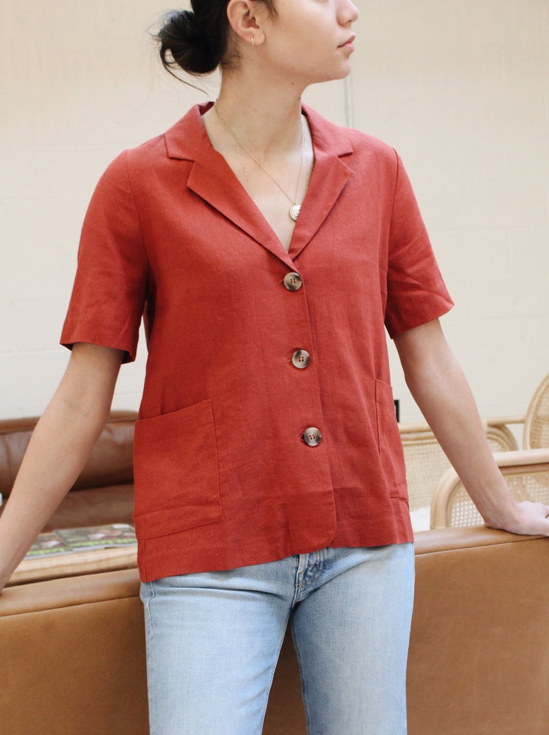 Devon Linen Blouse  - Brick