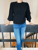 Black Pleat Sweater