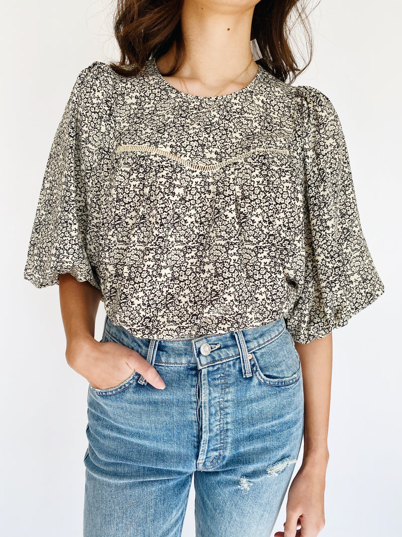Blossom Peasant Blouse - Black