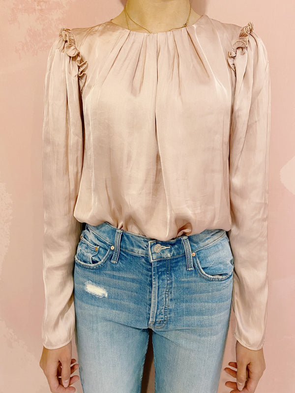 Claire Pleat Blouse - Blush