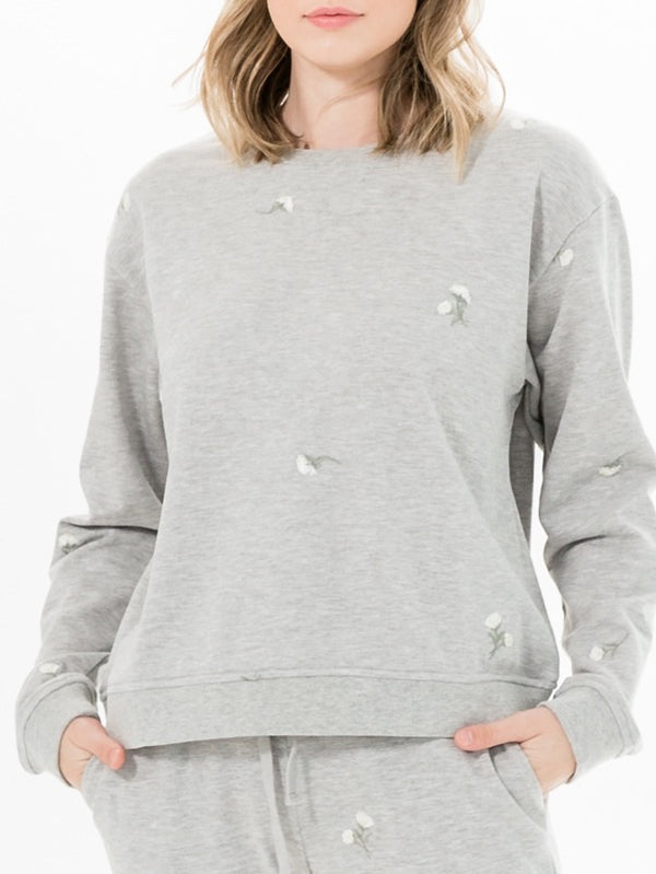 Daisy Embroidered Pullover