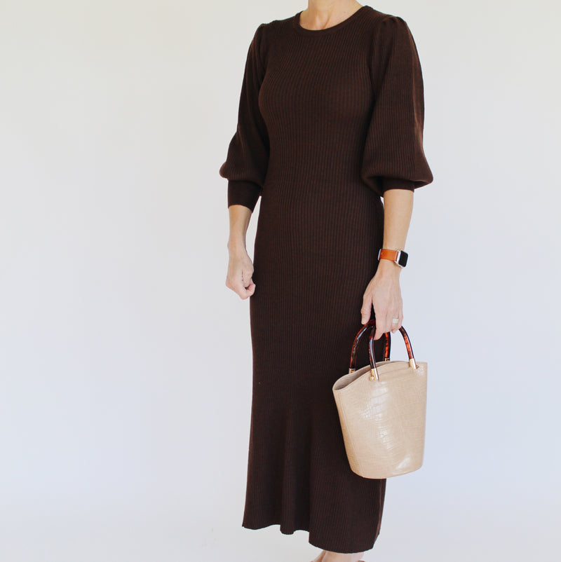 Mocha Balloon Sleeve Dress