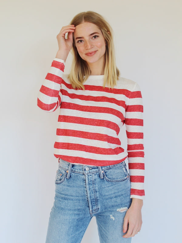 Federal Stripe Linen Tee - Red