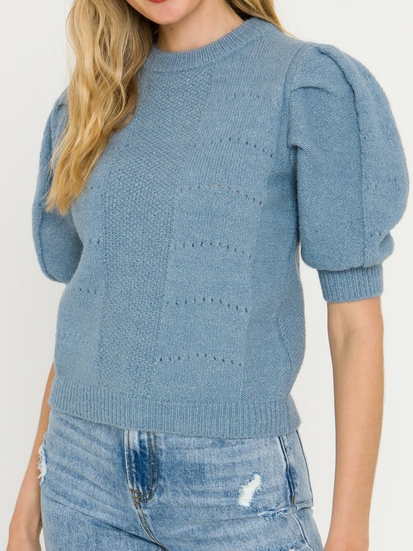 Azure Puff Sweater