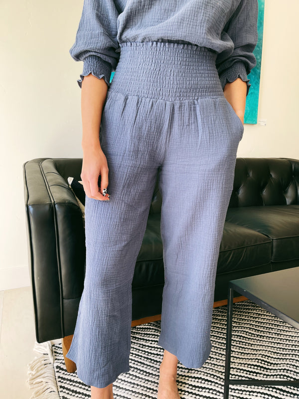 Zoe Smocked Pant in Navy