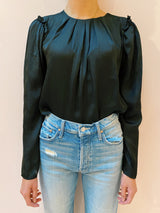 Claire Pleat Blouse - Black