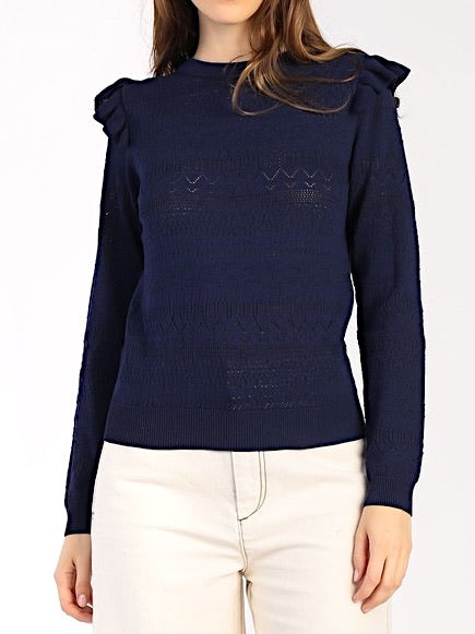 Navy Pointelle Sweater
