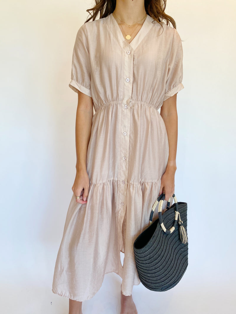 Lily Shirt Dress in Blush