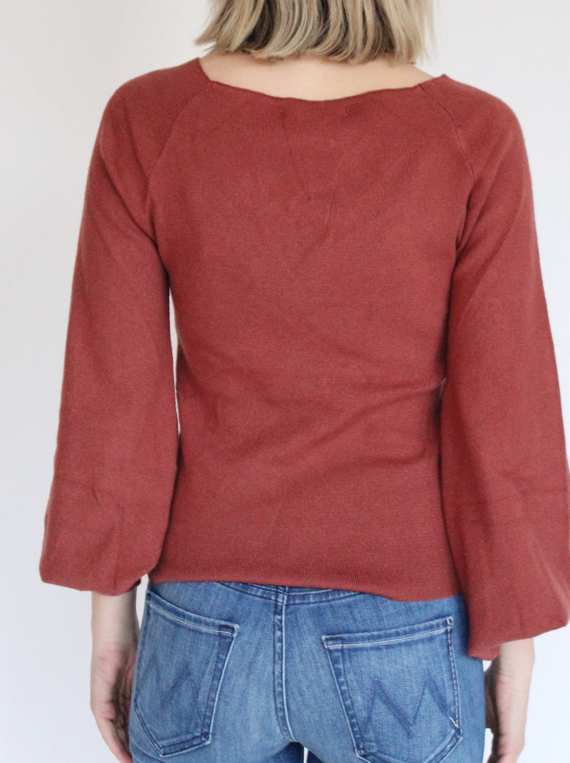 Camille Ruched Sweater In Wine