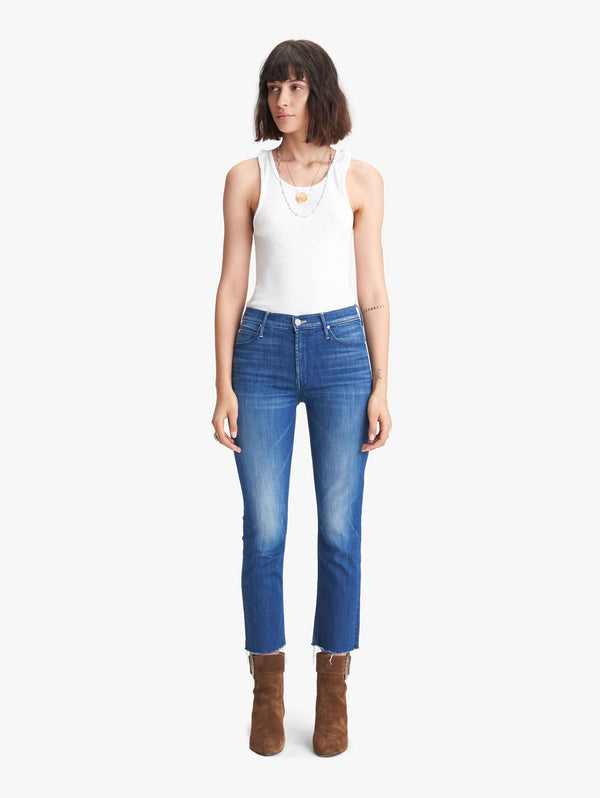 Mother Denim Mid Rise Dazzler Crop Fray- Squeeze It
