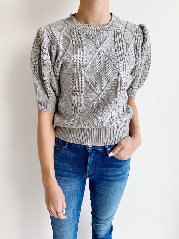 Mara Cable Knit Sweater - Grey