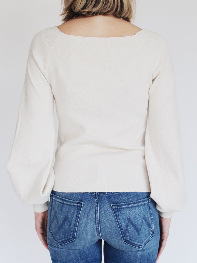 Camille Ruched Sweater In Oat