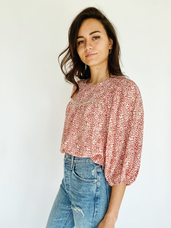 Blossom Peasant Blouse - Red