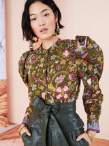 Ulla Johnson Willa Blouse in Pine Floral