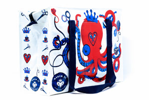 Monocled Octopus project bag for knitters and crocheters