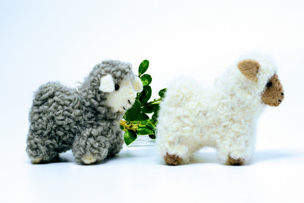 maker 37 felted sheep ornament
