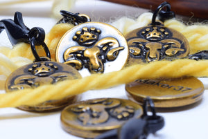 golden ram stitch markers - Adze Woodcraft and Sundry