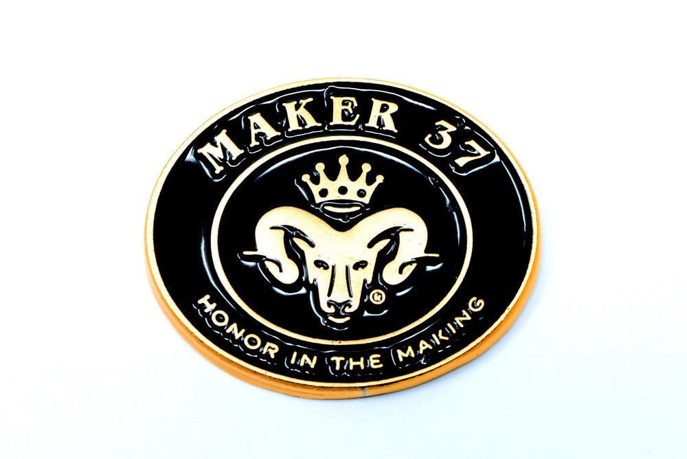 Maker 37 collectible pin badge - Adze Woodcraft and Sundry