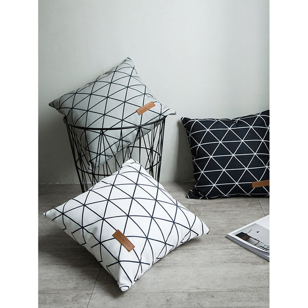Geo Print Pillowcase Cover WHT - INspira Collection (45cm x 45cm)