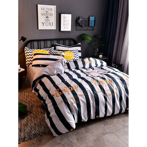 Striped & Letter Print Duvet Cover Set - BeddINg Collection