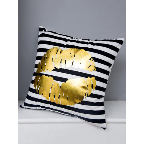 Lips Print Striped Decorative Pillowcase Cover - INspira Collection (45cm x 45cm)