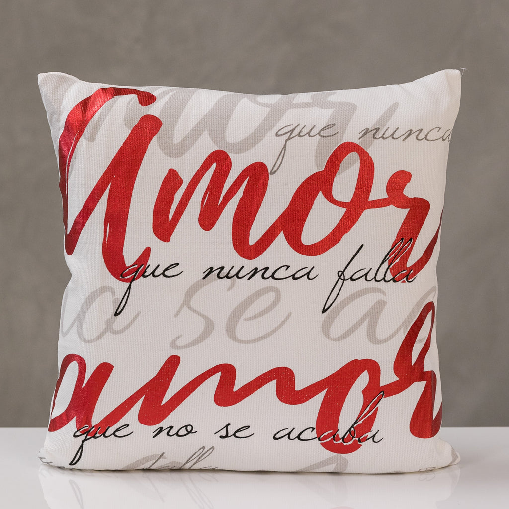 "18""x18"" Pillow Cover, Amor - Red/Gray/Black Design By Liz Bonilla"