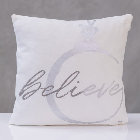 "18""x18"" Pillow Cover,  Believe - Silver/Gray Design By Liz Bonilla"