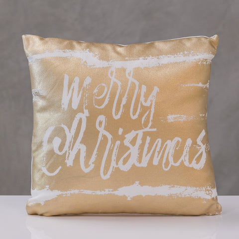 "18""x18"" Pillow Cover, Merry Christmas  Gold Design By Liz Bonilla"