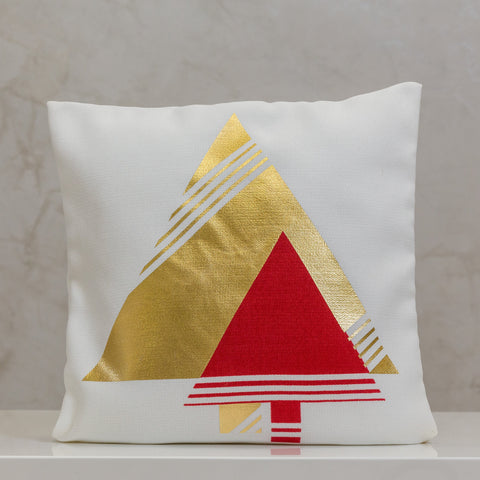 "18"" x 18"" Pillow Cover, Double Modern Trees Gold/Red- Design By Liz Bonilla"