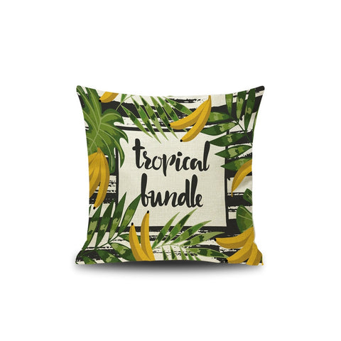 Tropical Leaf & Banana Pillowcase - INspira Collection (45cm x 45cm)