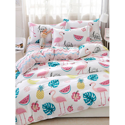 Flamingos & Fruit Print Sheet Set - BeddINg Collection
