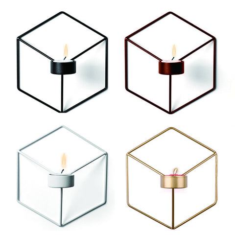 Nordic 3D Geometric Metal Wall Candle Holder - INwall Collection